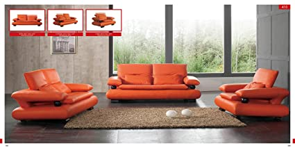 Amazon.com: ESF Modern 410 Orange Italian Leather Sofa Set ...