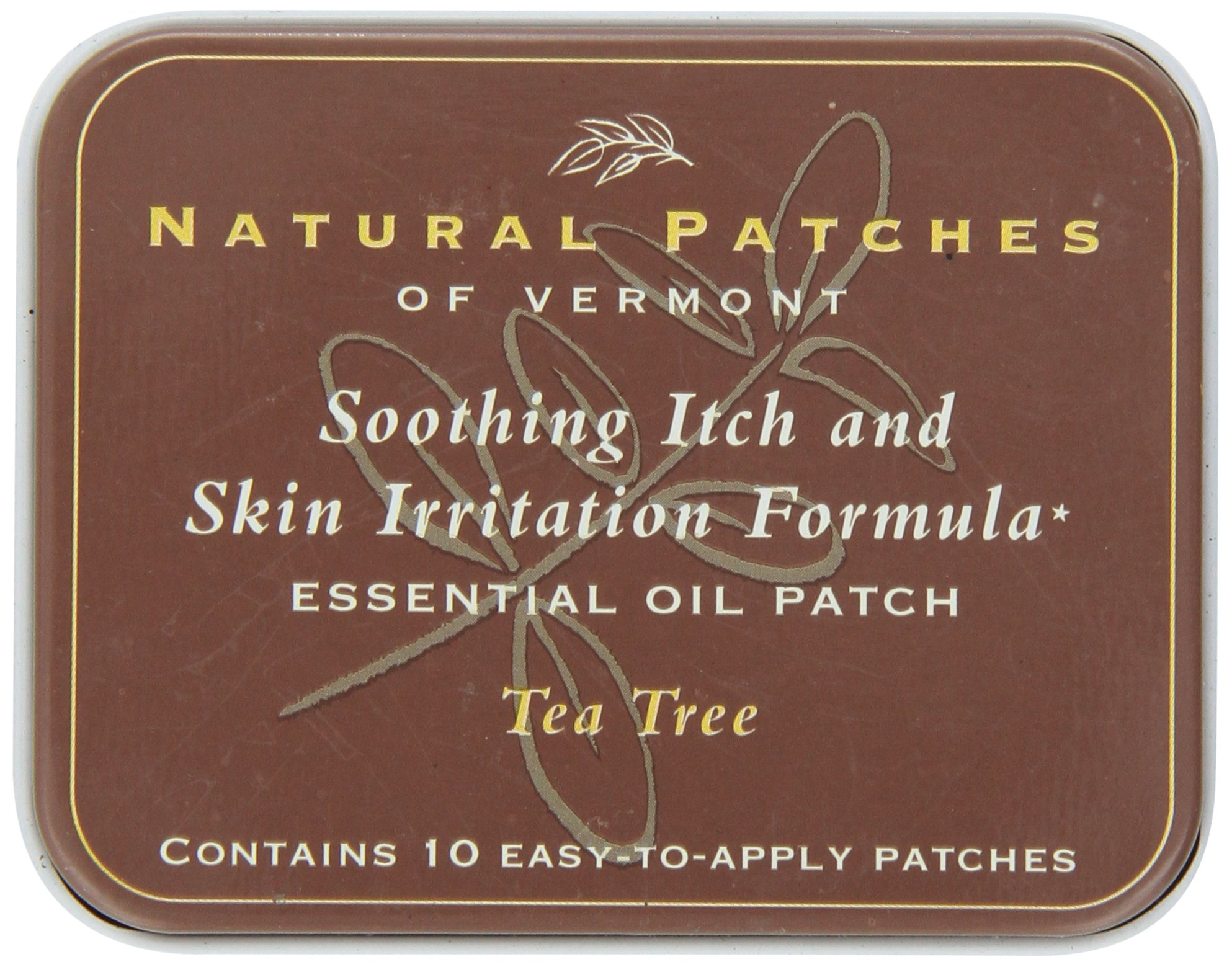 Natural Patches Of Vermont Tea Tree Itch & Skin Care Essential Oil Body Patches, 10-Count  Tins
