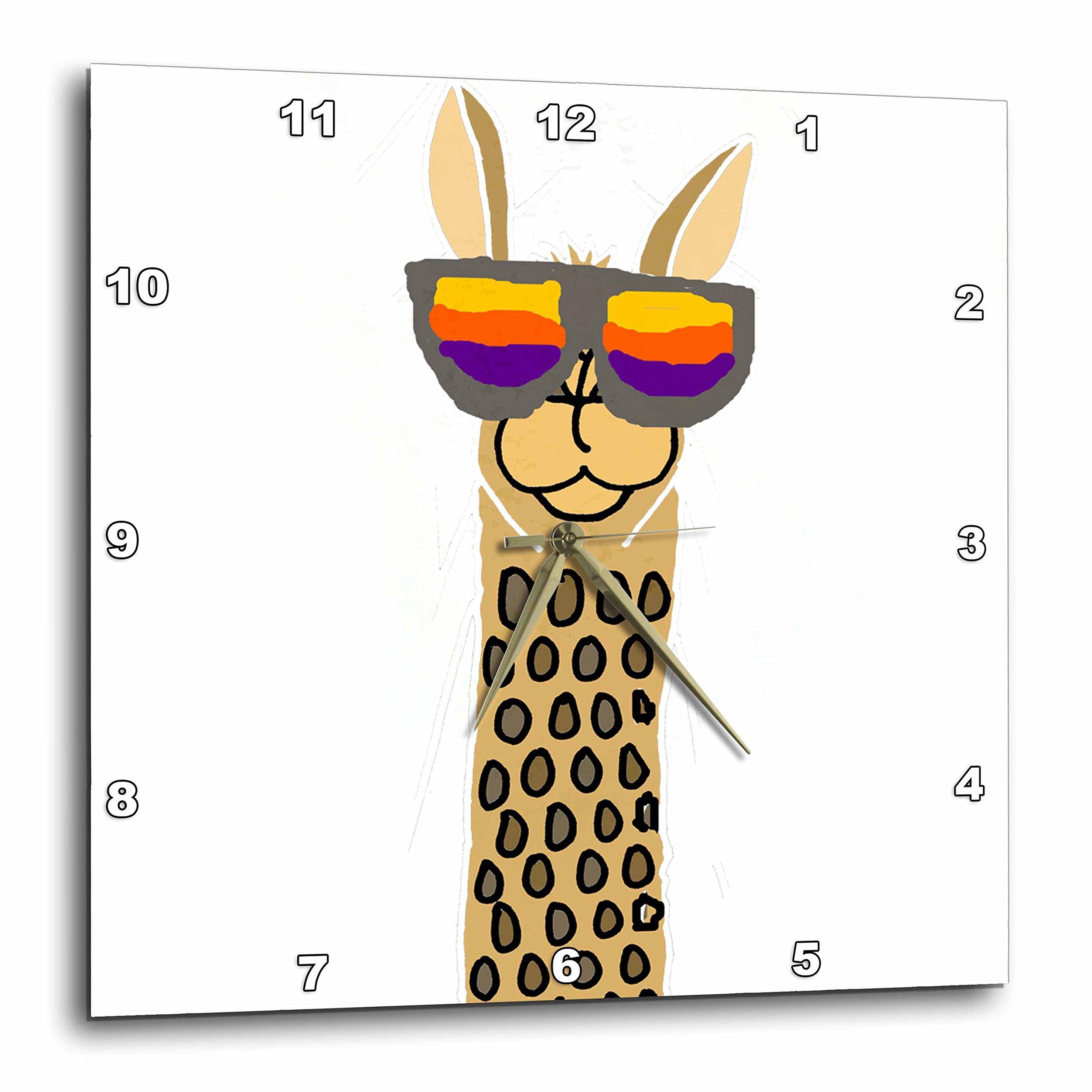 3dRose Funny Cool Funky Llama Wearing Sunglasses Cartoon Wall Clock,