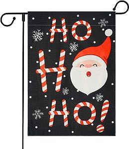 Merry Christmas Garden Flag, Ho Ho Ho Santa Claus Garden Flag with Anti-Wind Clip, Christmas Yard Flags, Decorative House Flags for Outside, Winter Garden Flags Burlap Double Sided, 12.5 x 18 inches