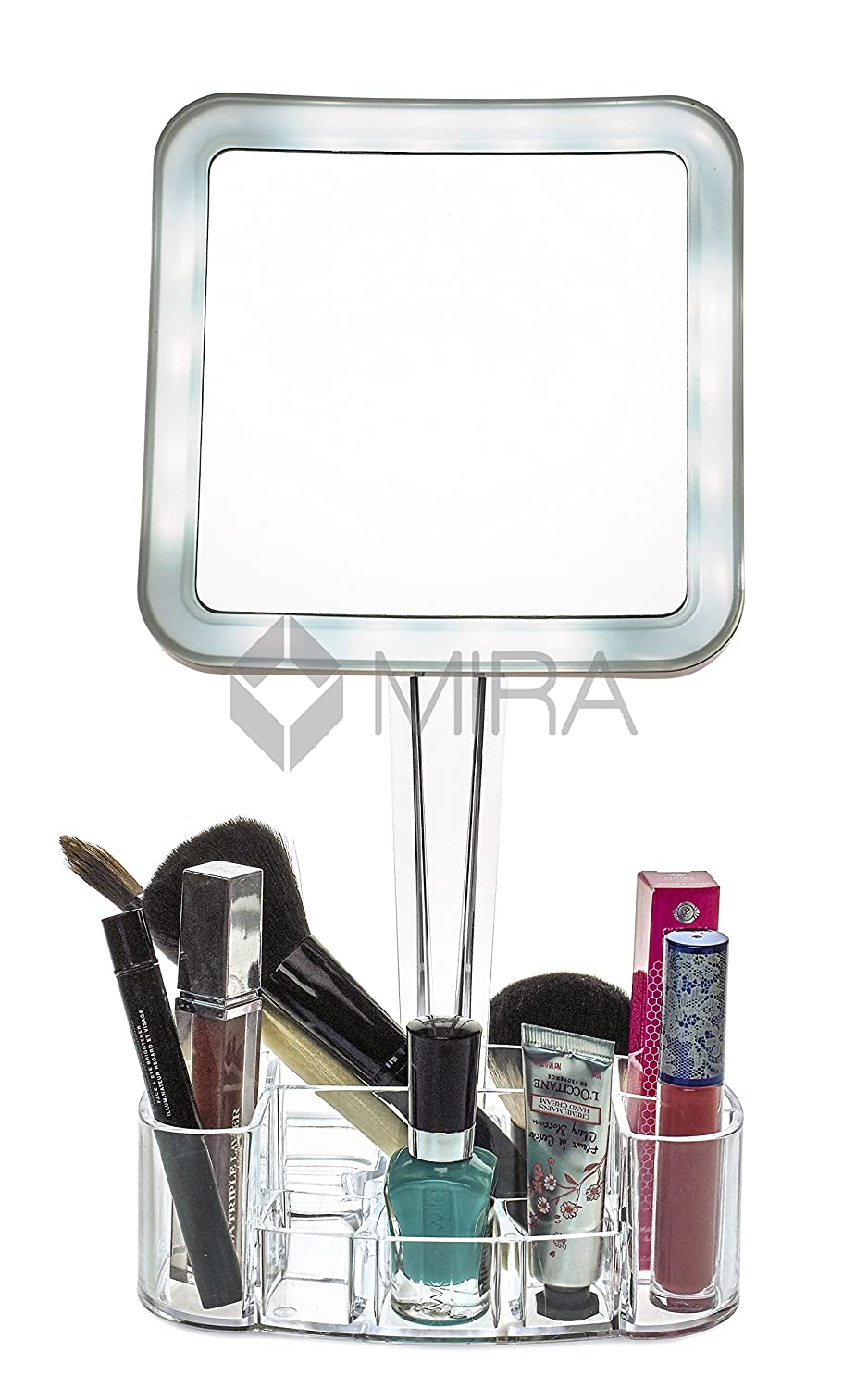 Amazon com   daisi Magnifying Lighted Makeup Mirror with Cosmetic Organizer  Base   7X Magnification  LED Lighted Free Standing Bathroom Mirror for  Vanity   Amazon com   daisi Magnifying Lighted Makeup Mirror with Cosmetic  . Portable Vanity Mirror With Lights. Home Design Ideas
