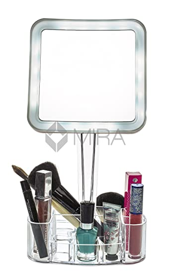 magnifying lighted makeup mirror cosmetic organizer base magnification led free vanity bed bath beyond conair 10x wall mounted