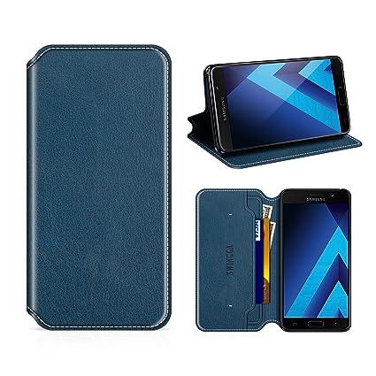 Swingga Samsung Galaxy A5 2017 Hülle, Handyhülle Premium Leder Tasche Flip Case Schutzhülle für Samsung Galaxy A5 2017,Dunkel