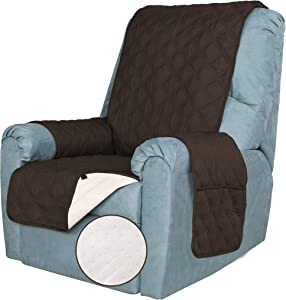 TOMORO 100% Waterproof Recliner Chair Cover for Dogs, Kids and Pets - Non Slip Quilted Sofa Slipcover Furniture Protector with 5 Storage Pockets, Couch Cover Fits Seat Width Up to 23 Inch
