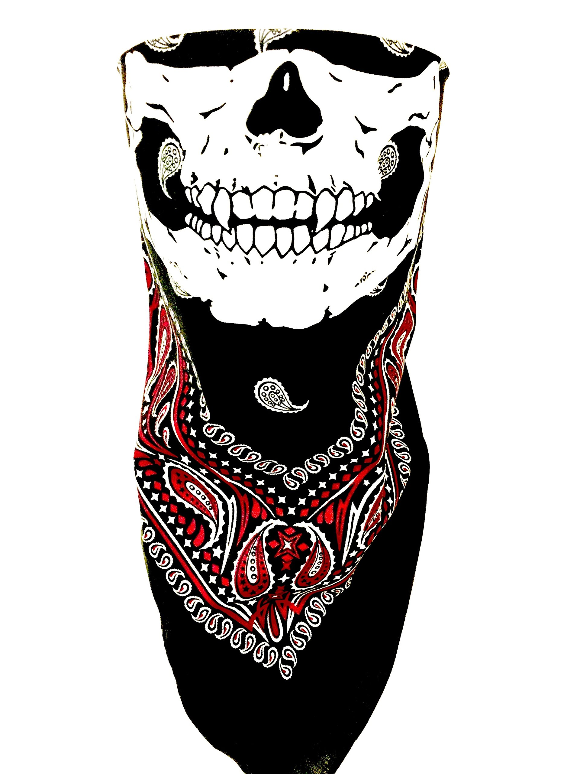 Black Red White Paisley VELCRO®Brand Adjustable Close Bandanna Mask Face Cover