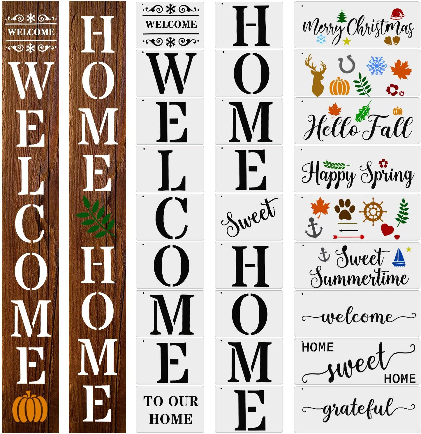 27 Pieces Welcome Stencils for Painting Home Stencil Word Stencils Sweet Home Sign Stencils DIY Stencil for Painting on Wood DIY Crafting