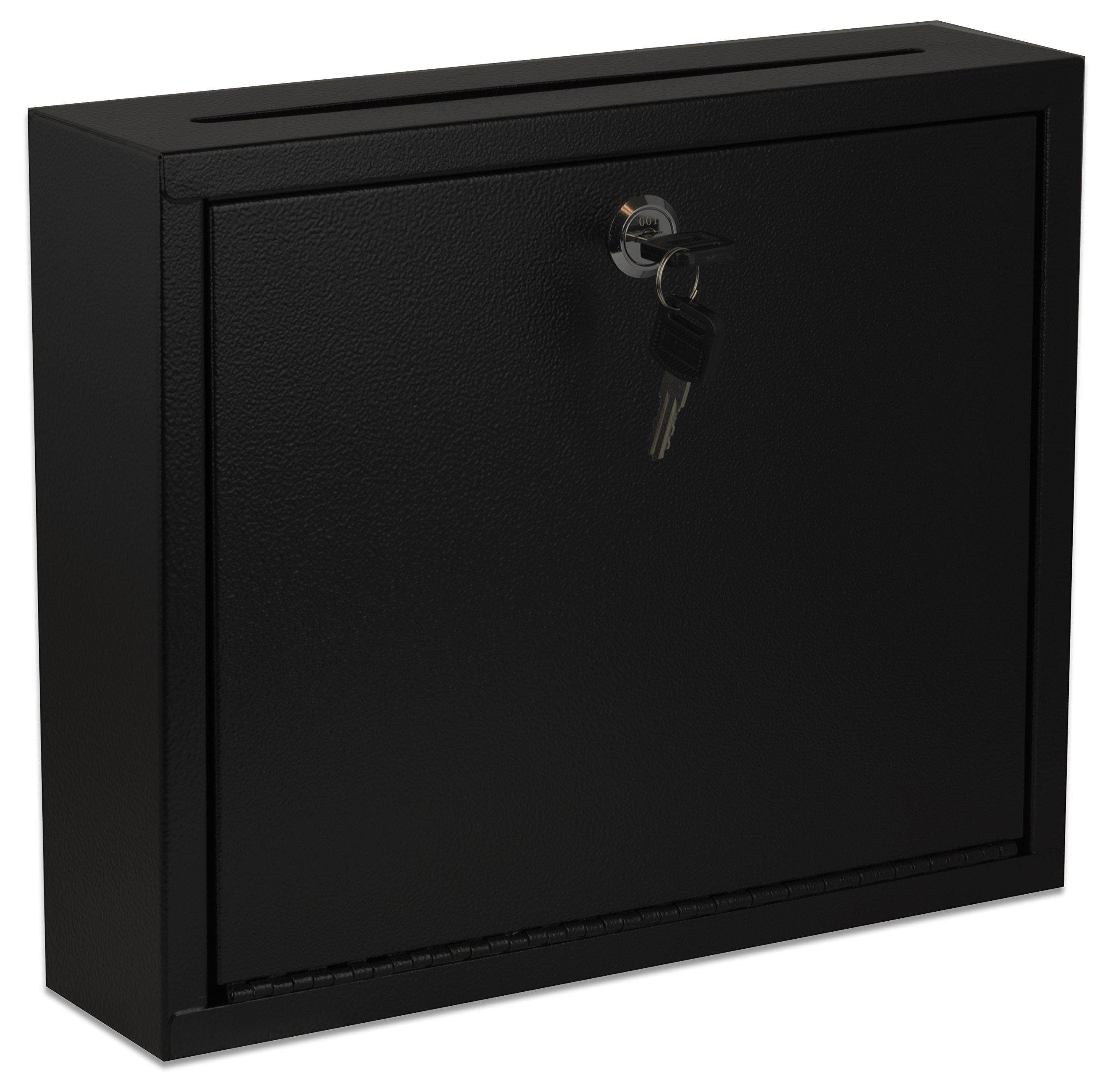 AdirOffice Multi Purpose, Mailbox, Drop Box, Suggestion Box, Wall Mountable, 3'' x 10'' x 12'' - Black