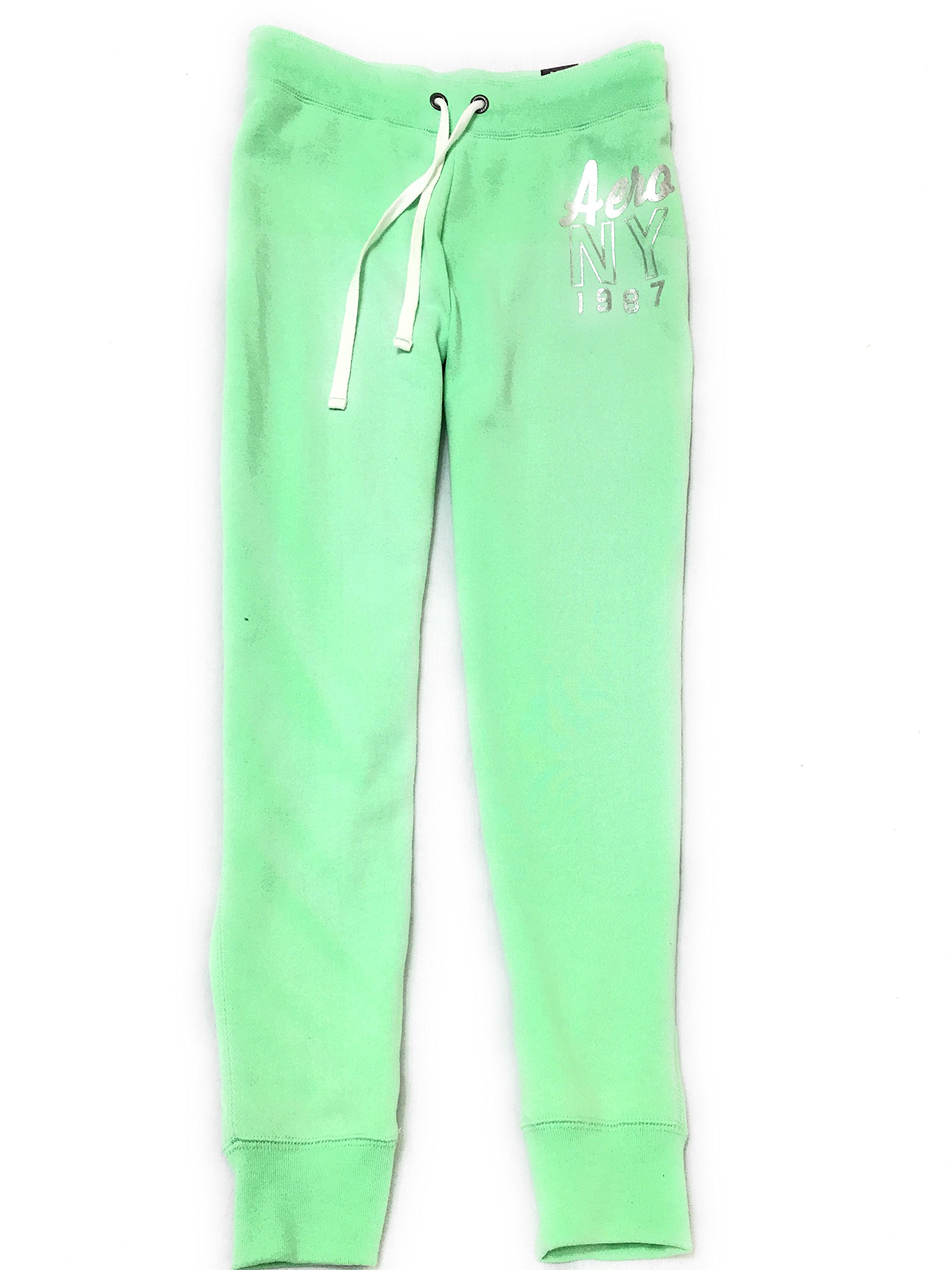 Aeropostale Women's Jogger Pants With Aero NY 1987 Logo Style 8804 (Large, Green 336)