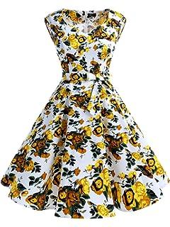 41c80ea6786 IVNIS Elégant Robe Vintage Années 50 60 avec Poches Robe d Audrey Hepburn  Rockabilly Swing