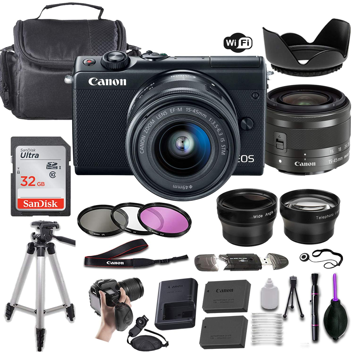Canon EOS M100 Mirrorless Digital Camera (Black) w/EF-M 15-45mm f/3.5-6.3 is STM + Wide-Angle and Telephoto Lenses + Portable Tripod + Memory Card + Deluxe Accessory Bundle by Canon