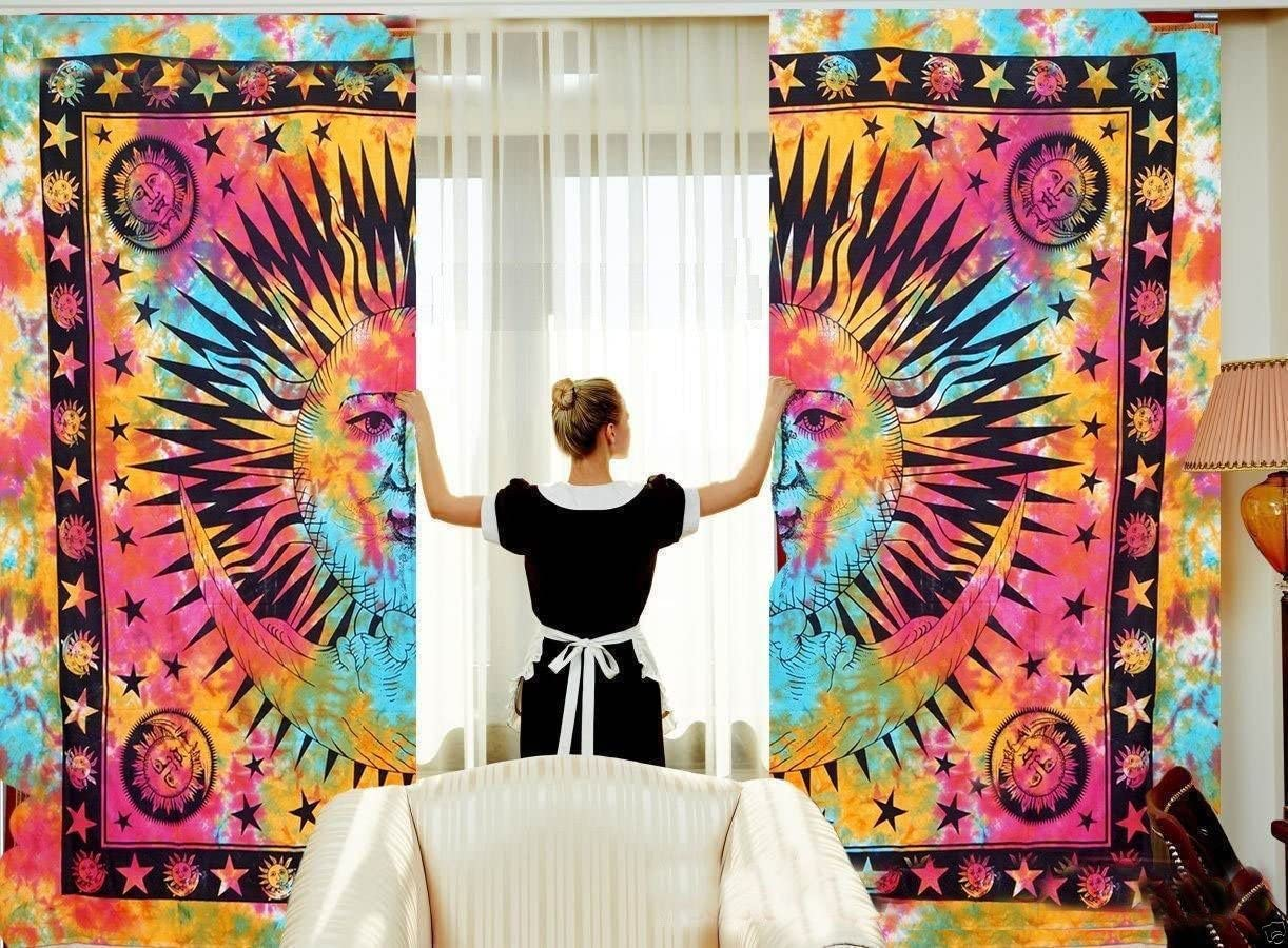 Sophia Art Indian Sun Moon Mandala Tulle Voile Door Window Curtain Drape Panel Sheer Scarf Valances Multi
