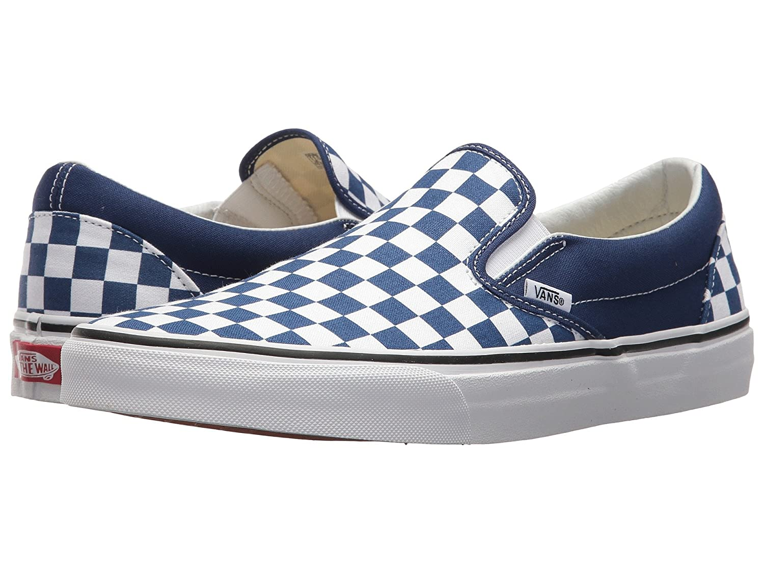 Vans Unisex Classic (Checkerboard) Slip-On Skate Shoe B07B4TCS9H 6.5 M US Women / 5 M US Men|(Checkerbord) Estate Blue/True White