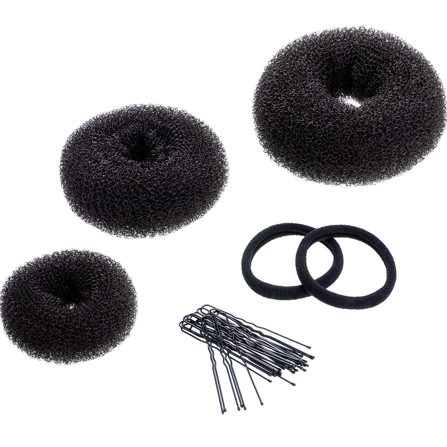 Mudder 3 Pieces Donut Bun Maker Hair Bun Maker Ring Style Bun Maker Set for Chignon Hair Includes Large, Medium and Small (Brown)