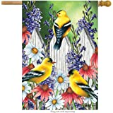 "Goldfinch Trio Spring House Flag Floral 28"" x 40"" Briarwood Lane"