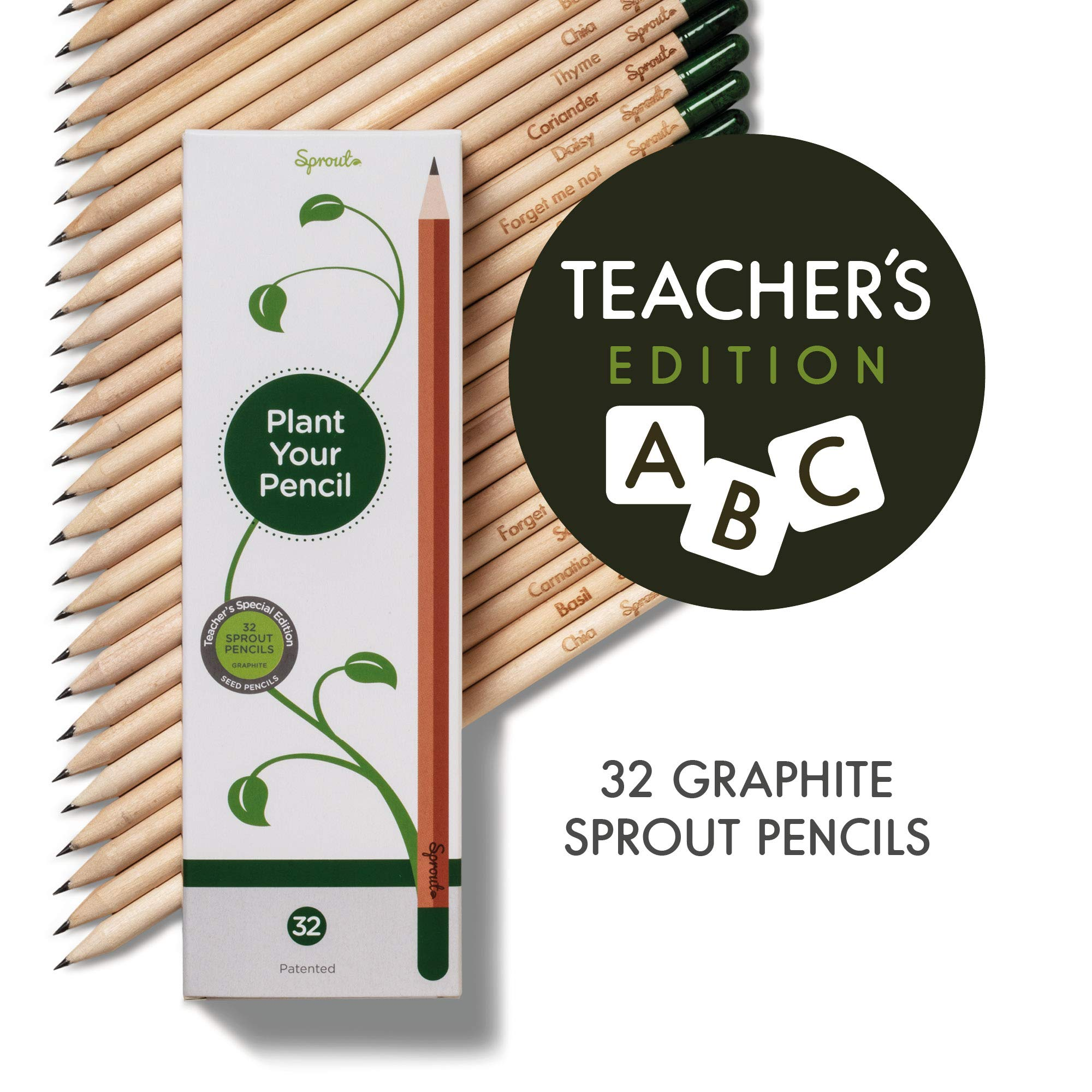 Teacher's Edition - Sprout plantable graphite pencils with seeds in eco friendly wood | 32 Pack |Gift set with herbs and flowers by Sprout