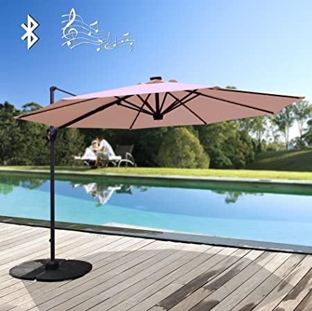 PATIORAMA Commerical 10 Feet Aluminum Solar Powered LED Offset Cantilever Outdoor Patio Umbrella with Bluetooth Stereo Speaker and Steel Cross Base, 250g sqm Polyester, Beige