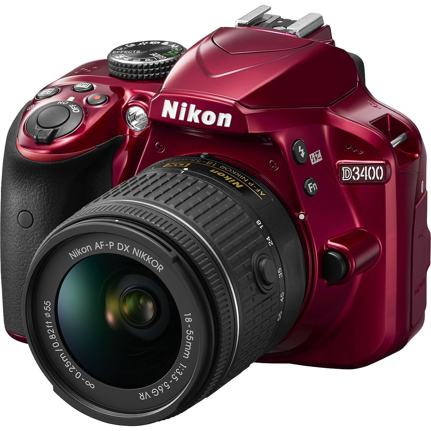 Nikon D3400 DSLR Camera w/ AF-P DX NIKKOR 18-55mm f/3.5-5.6G VR Lens - Red (Certified Refurbished)