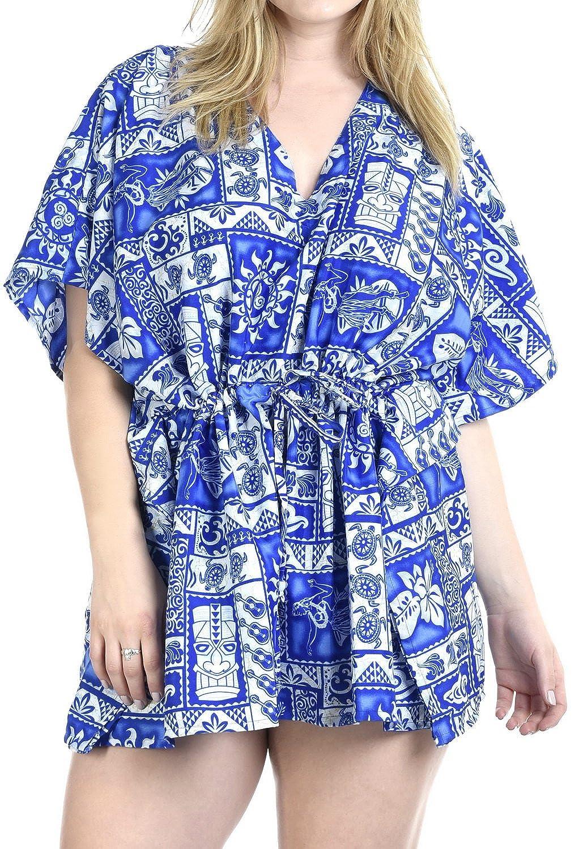 LA LEELA Women's Bikini Cover Up Dress Swim Beach Wear Caftan Swimsuit Printed CU Likre 640 Ref(2079)