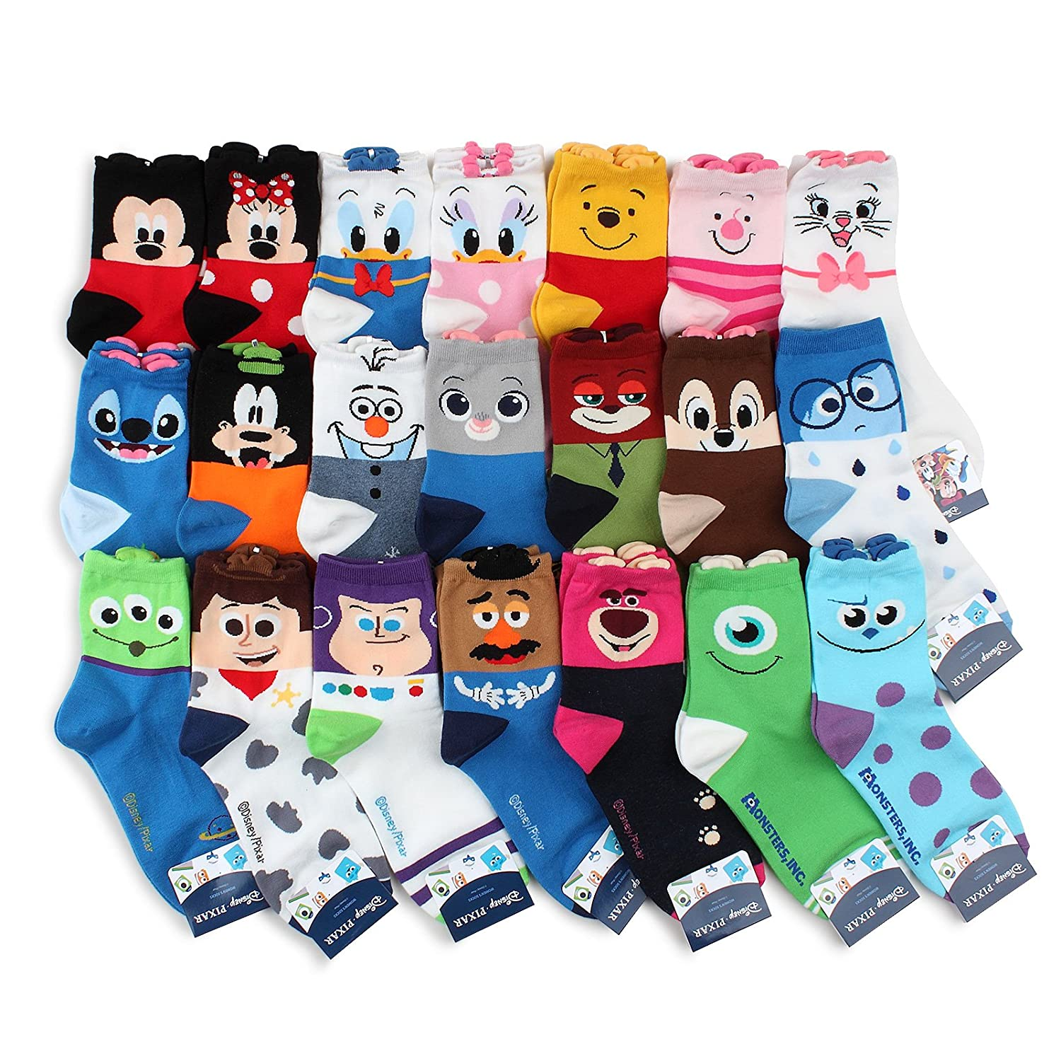 Disney Princess Pixar Movies Official Socks Collection With INTYPE Pouch