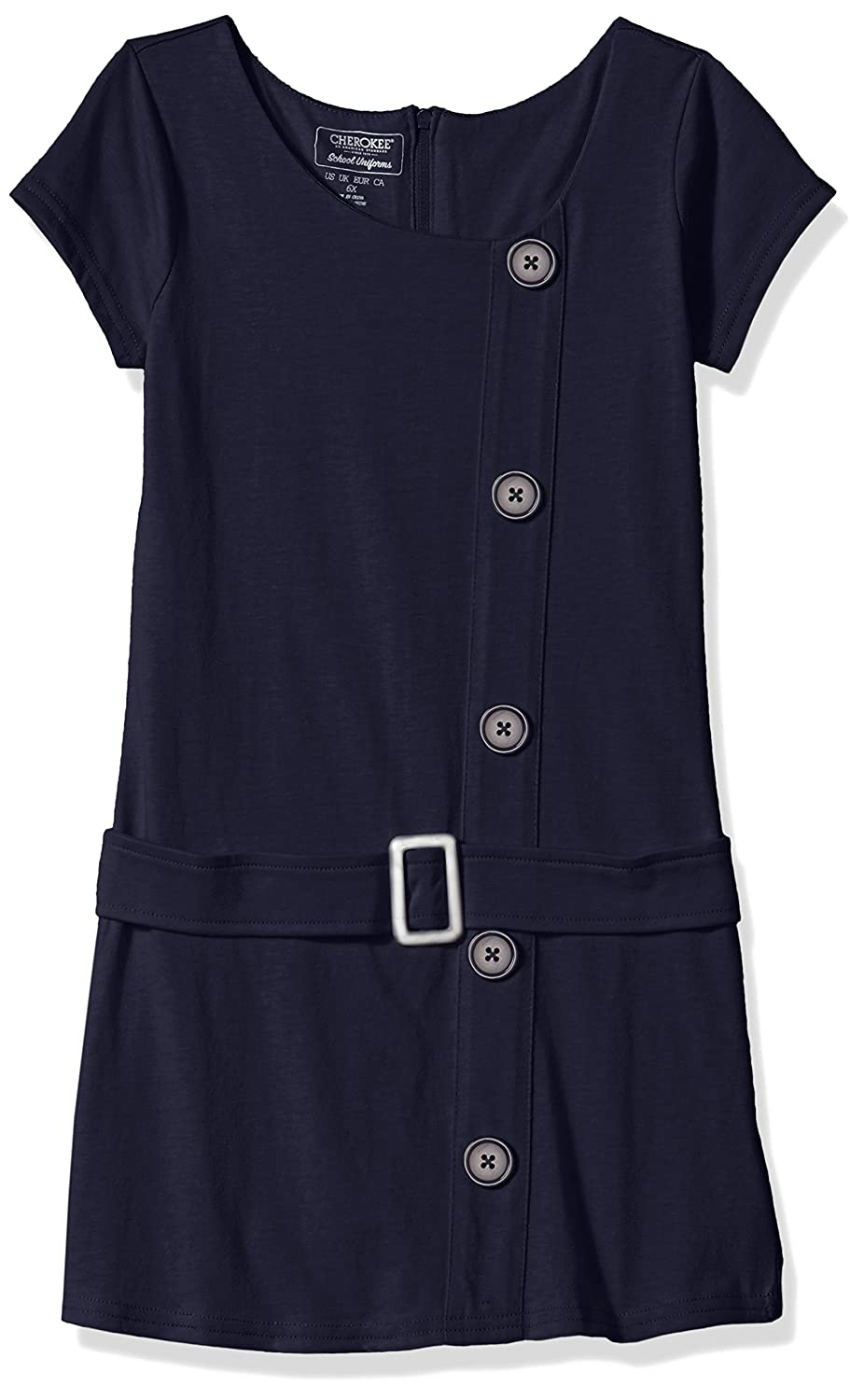 CHEROKEE Girls' Uniform Dress Navy Buckle 6X 87D2912EEN