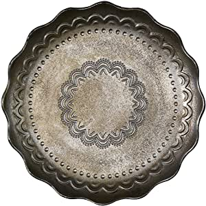 Green Gate Round Wooden Tray, Wood, Silver