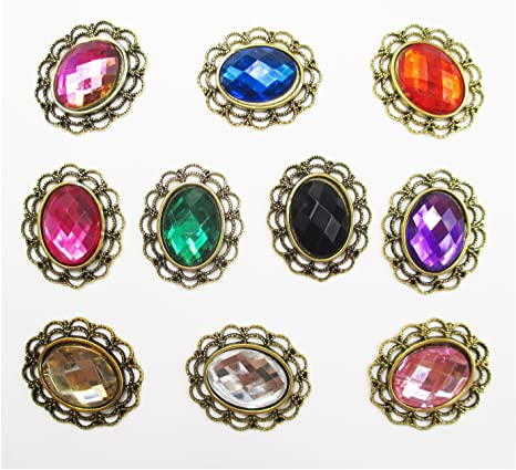 5 pcs 21mm crystal clear round metal rhinestone button