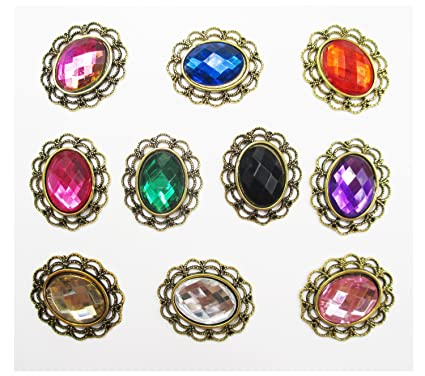 dc22d3b2e71cb Amazon.com  ALL in ONE 10pcs Mixed Color Oval Shape Vintage ...