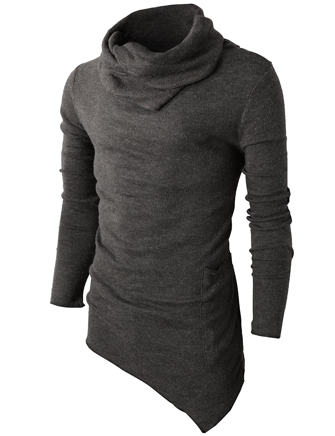 H2H Men's Casual Turtleneck Slim Fit Pullover Sweater Oblique Line Bottom Edge