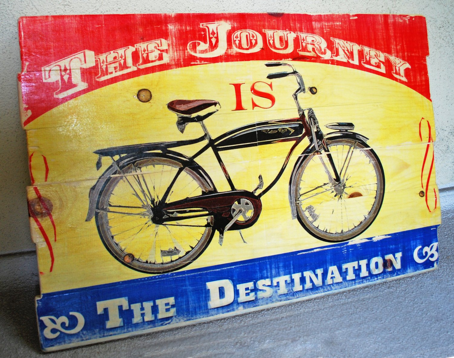 Amazon.com: Vintage Bicycle Wall Art on Solid Wood Boards - The ...