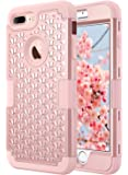 iPhone 7 Plus Case, ULAK Hybrid Heavy Duty Shockproof Diamond Studded Bling Rhinestone Case with Dual Layer Hard Cover + Soft Silicone Impact Protection for Apple iPhone 7 Plus 5.5 inch (Bling Rose Gold)