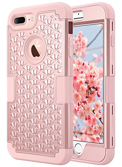 best loved 5660c abf9e ULAK iPhone 7 Plus Case, Bling Hybrid Heavy Duty Protection Shockproof 3 in  1 Silicone Rubber Hard PC Front and Back Protective Case for iPhone 7 Plus  ...