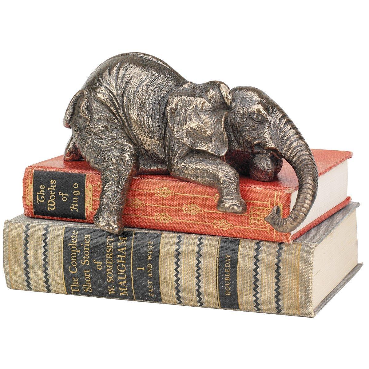 Bronze 9 x 20.5 x 12.5 cm Design Toscano WU71818 Statuette Ernest lEl/éphant Endormi Allong/é