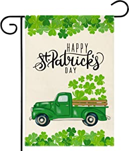 DSWEESUN Happy St Patrick's Day Truck Garden Flag, Durable Burlap Double Sided Spring Clover Shamrock Flag, Saint Patricks Day Yard Outdoor Decoration, 12.5 x 18 Inch
