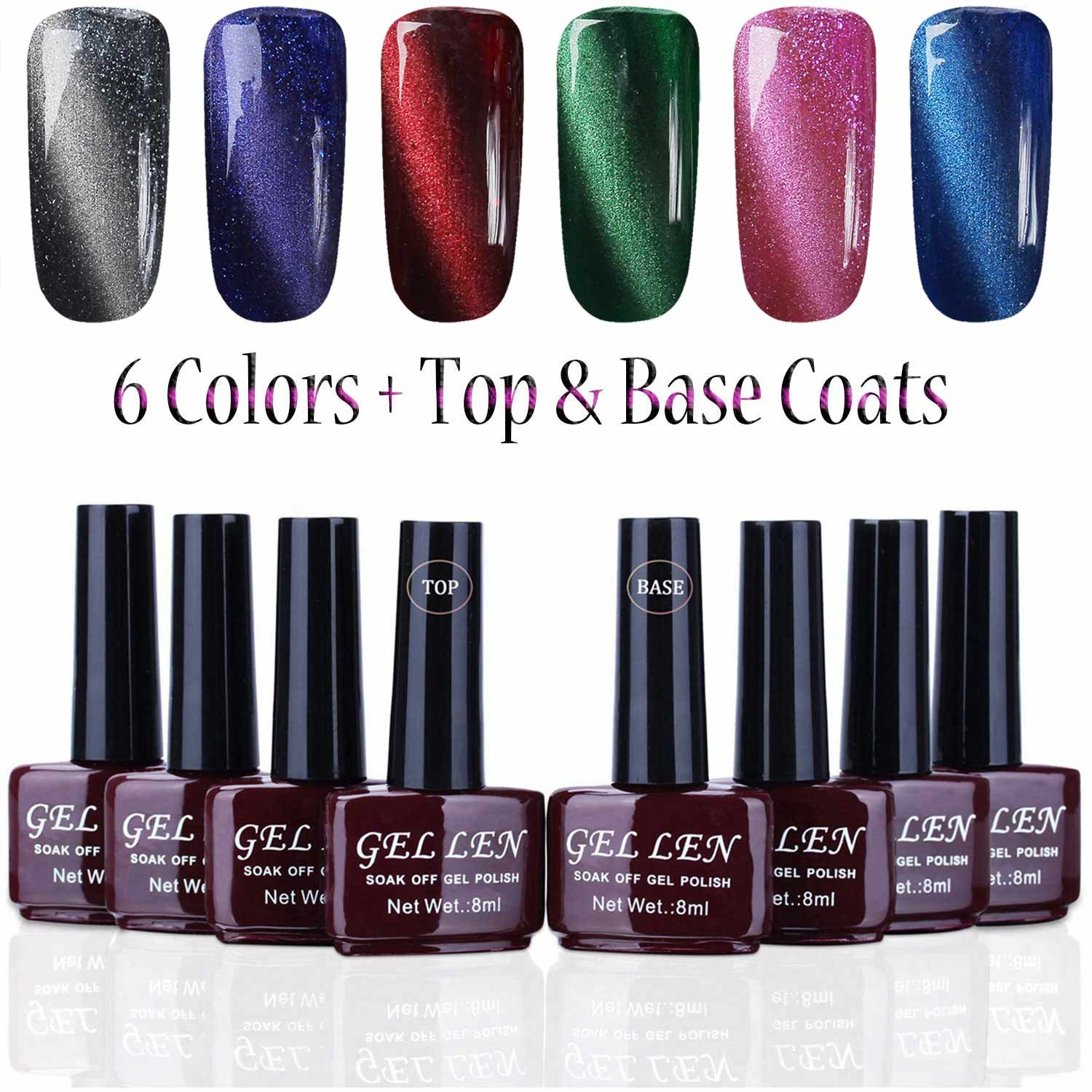 Amazon.com : Gellen New Trend 3D Cat Eye Gel Nail Polish - Pack of 6 ...