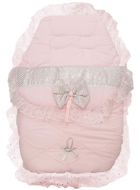 Saco de dormir para cochecito de bebé, con forro y lazo brillante, color rosa