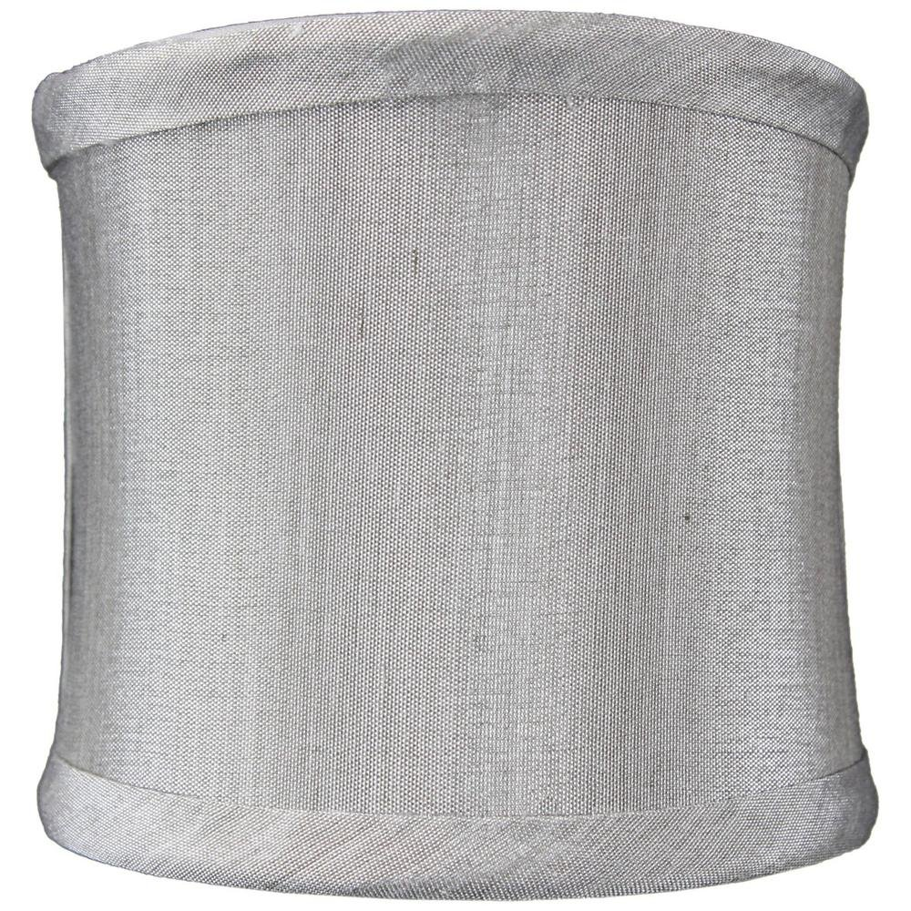 4x4x4 Grey Shantung Clip-On Sconce Half-Sconce Lampshade By Home Concept - Perfect for chandeliers, foyer lights, and wall sconces -Small, Grey
