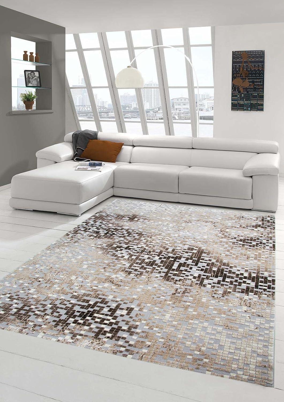 Traum Teppich Designerteppich Moderner Teppich Wohnzimmerteppich Kurzflor Teppich mit Konturenschnitt in Grau Braun Beige, Größe 200x290 cm