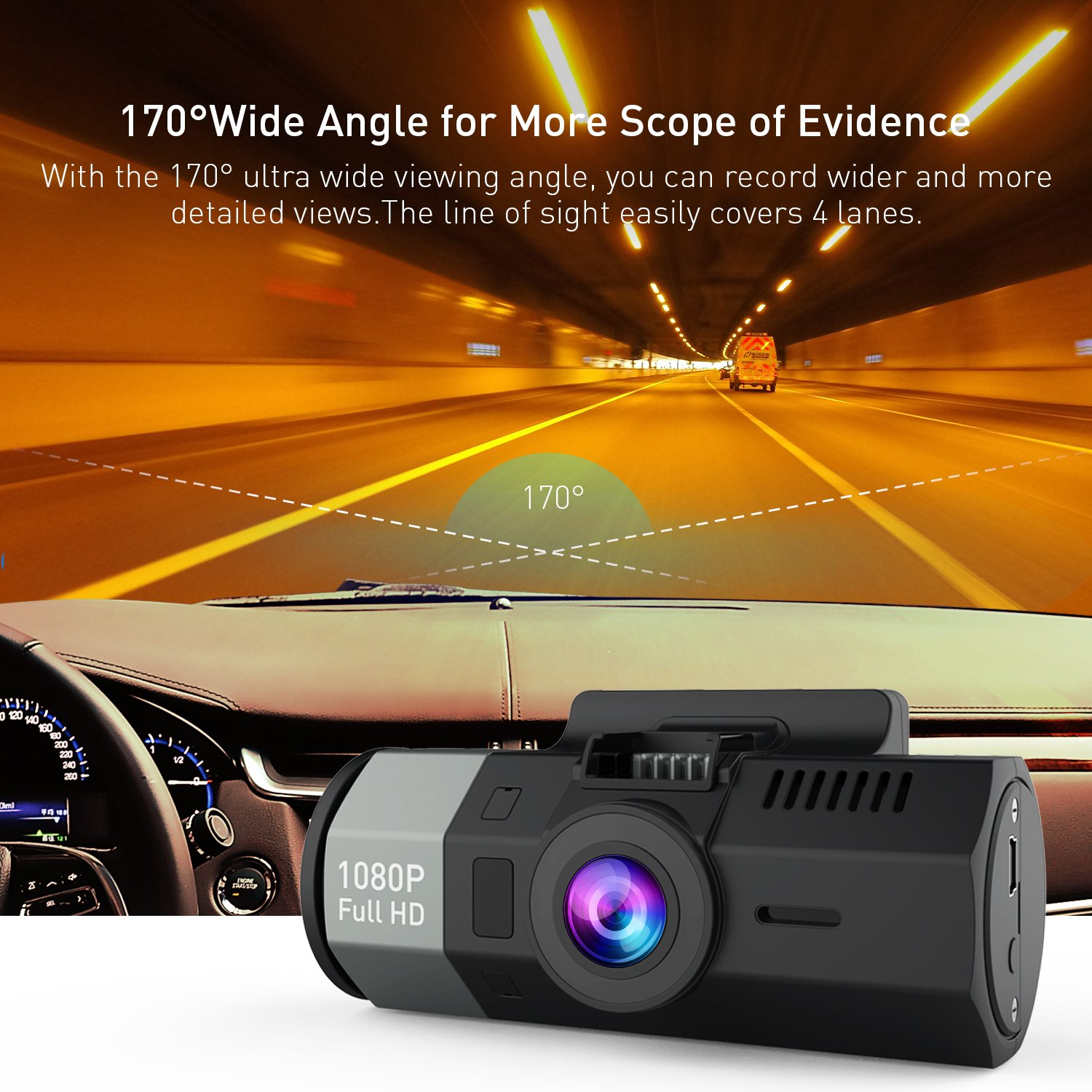 Crosstour Dash Cam 1080P FHD DVR Car Dashboard Camera Video Recorder for Cars 170° Wide Angle WDR with 2 inch LCD, Night Vision,Motion Detection, Loop Recording and G-Sensor by Crosstour (Image #5)