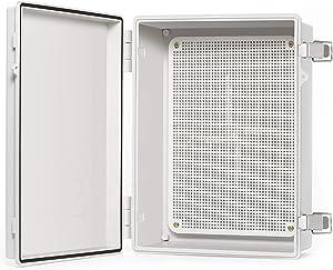 "QILIPSU Junction Box With Mounting Plate 370x270x150mm, Hinge Door Dustproof Box ABS Plastic DIY Electrical Project Case IP67 Waterproof Enclosure Grey (14.6""x10.6""x5.9"")"