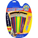 Great Value Artist Paint Brush Set 24-Piece Assorted Sizes for Kids` Fun Brush Set for All Paints Ages 6 to Adult by Shipping FBA