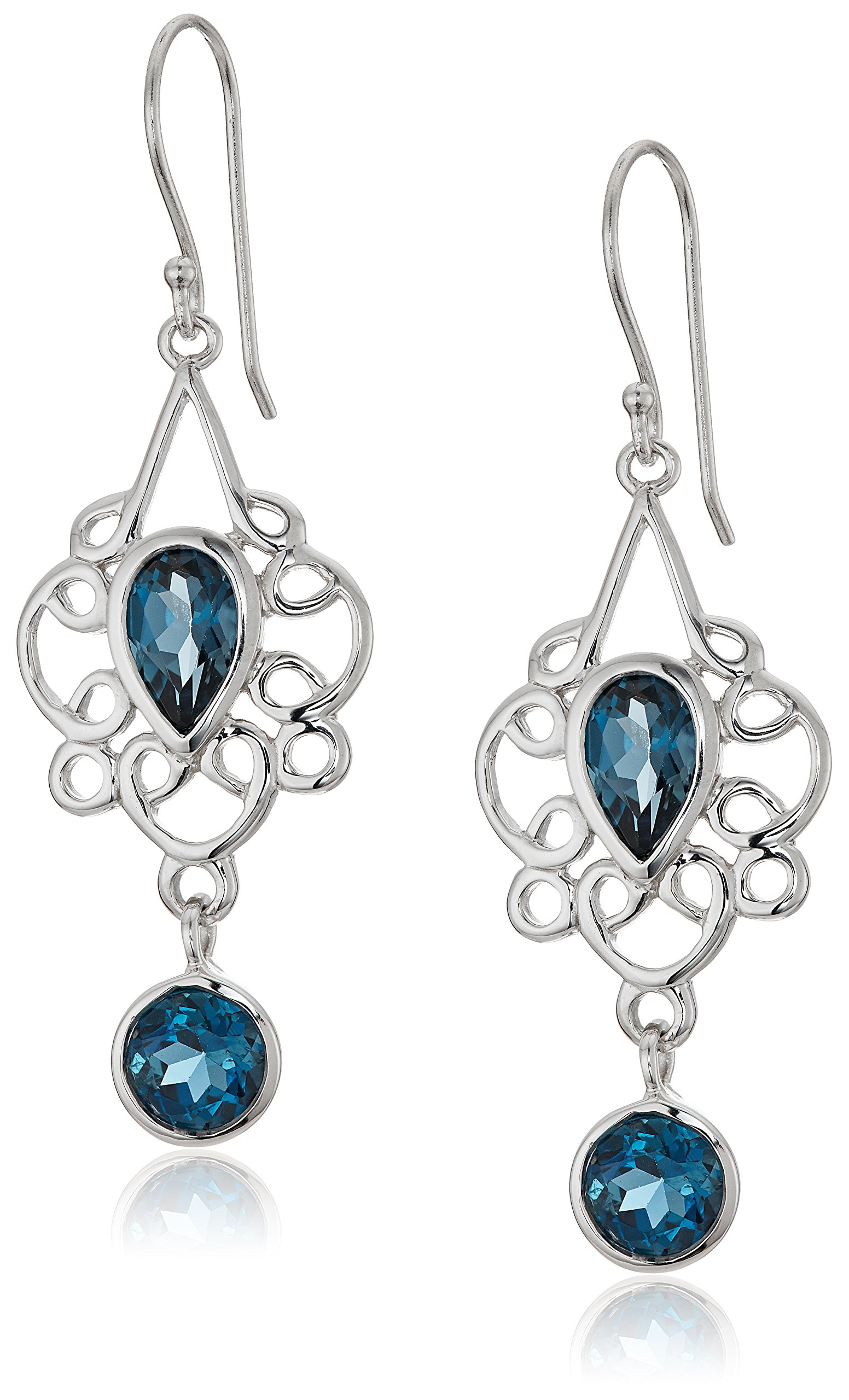 Sterling Silver London Blue Topaz Filigree Pear Drop Earrings