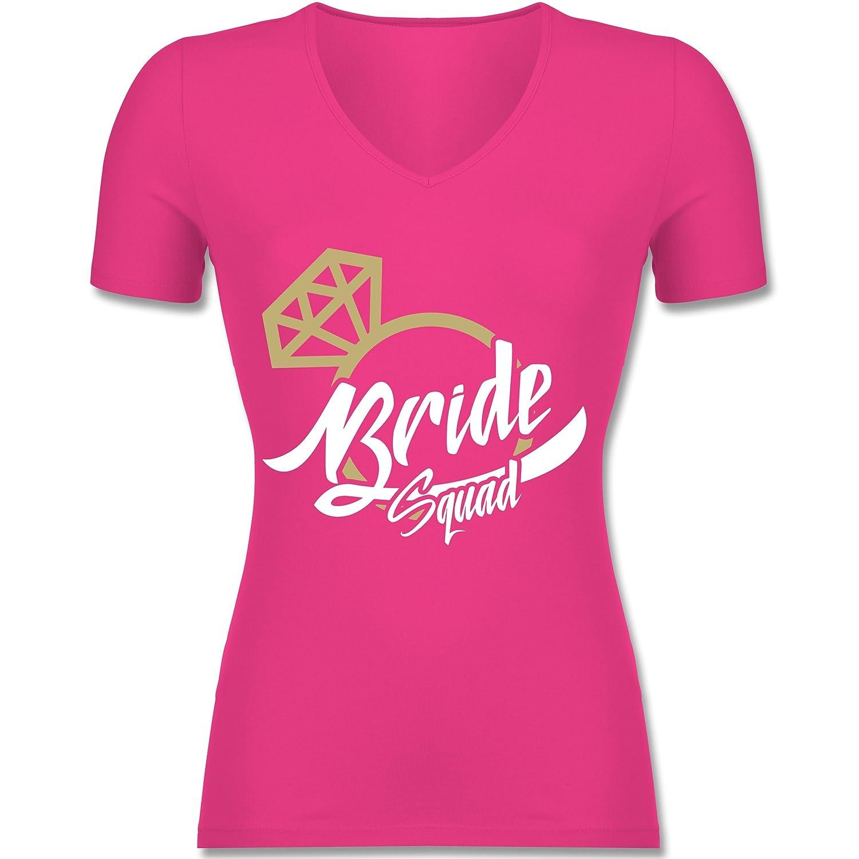 JGA Junggesellinnenabschied - Bride Squad - JGA Ring - Tailliertes T-Shirt  mit V-Ausschnitt für Frauen: Shirtracer: Amazon.de: Bekleidung