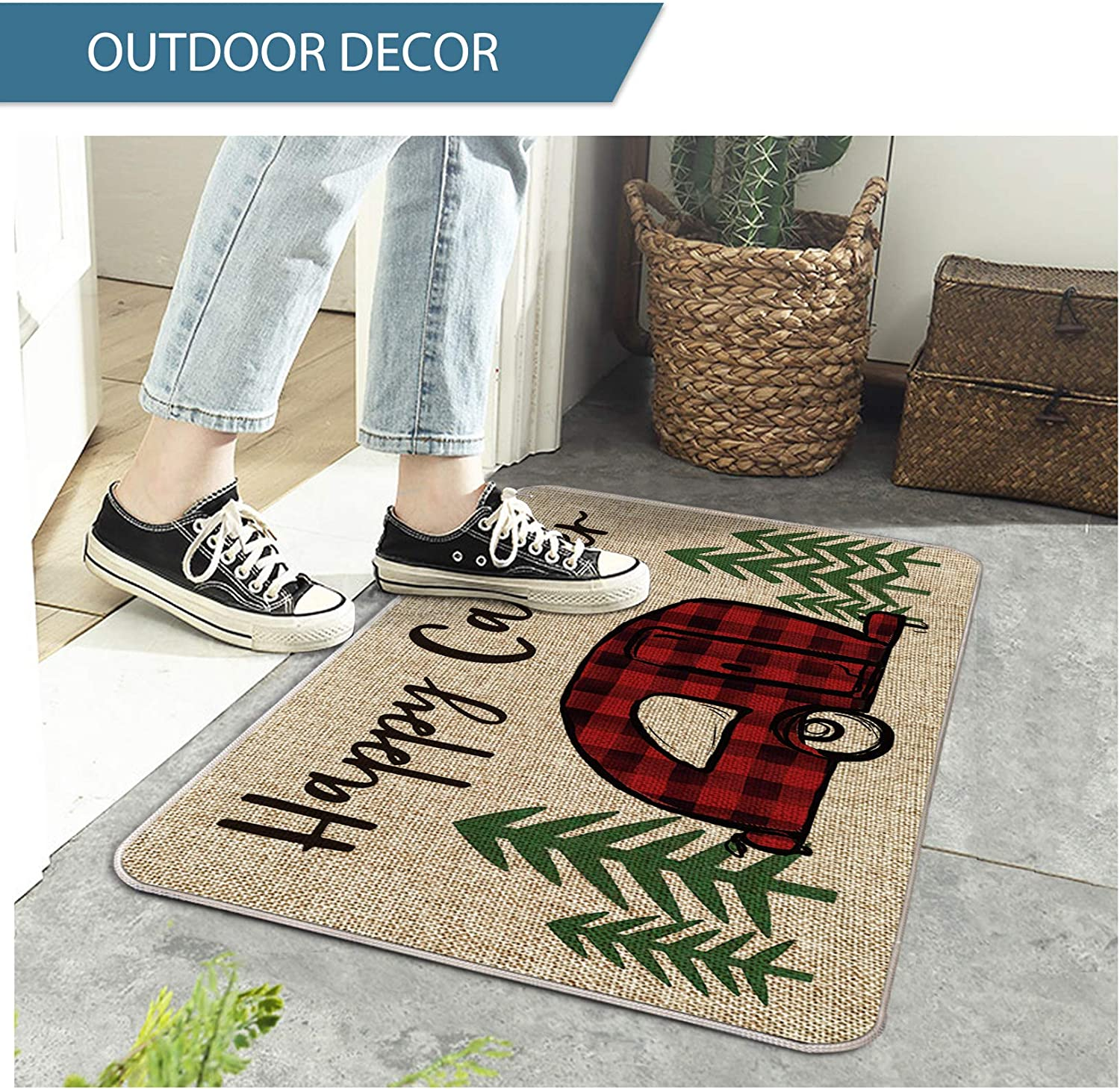 Seasonal Winter Camping Christmas Holiday Low-Profile Floor Mat Switch Mat for Indoor Outdoor 17 x 29 Inch Artoid Mode Buffalo Plaid Happy Camper Decorative Doormat