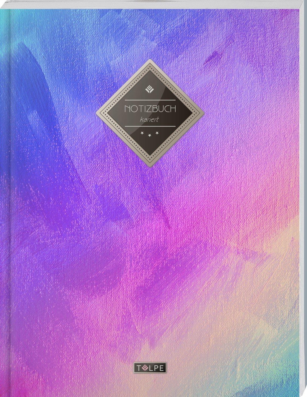 """TULPE Kariertes Notizbuch A4 """"C053 Leinwand"""" (140+ Seiten, Vintage Softcover, Doppelrand, Seitenzahlen, Register - Dickes Notizheft, Matheheft, Skizzenbuch, Schulheft, Tagebuch, Kariertes Heft Nr 26)"""