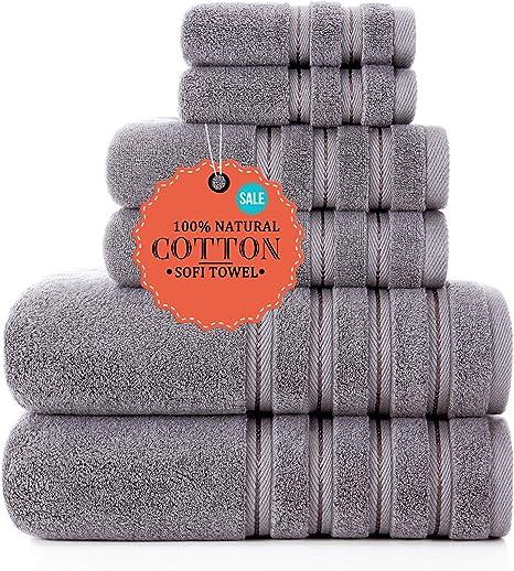 Amazon Com Luxury Turkish Towels Bathroom Sets Clearance 6 Piece Bath Towel Set 2 Bath Towels 2 Hand Towels 2 Washcloths Super Soft Highly Absorbent Grey Kitchen Dining