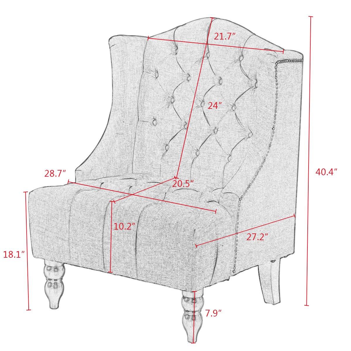 Giantex Sofa Tufted Tall Wingback Vintage Tufted Fabric Accent Chair Home Furniture Nailhead Armchair