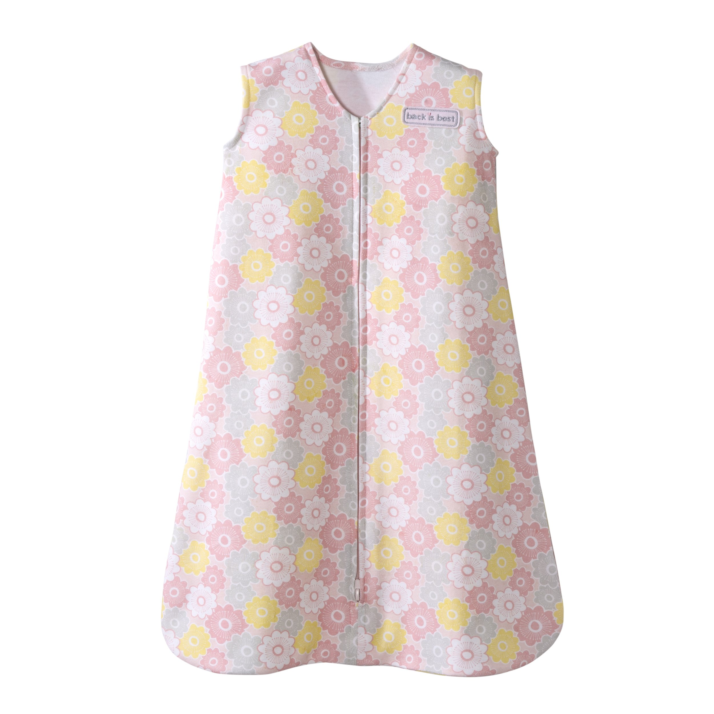 Halo SleepSack 100% Cotton Wearable Blanket, Grey and Pink Flowers, Medium