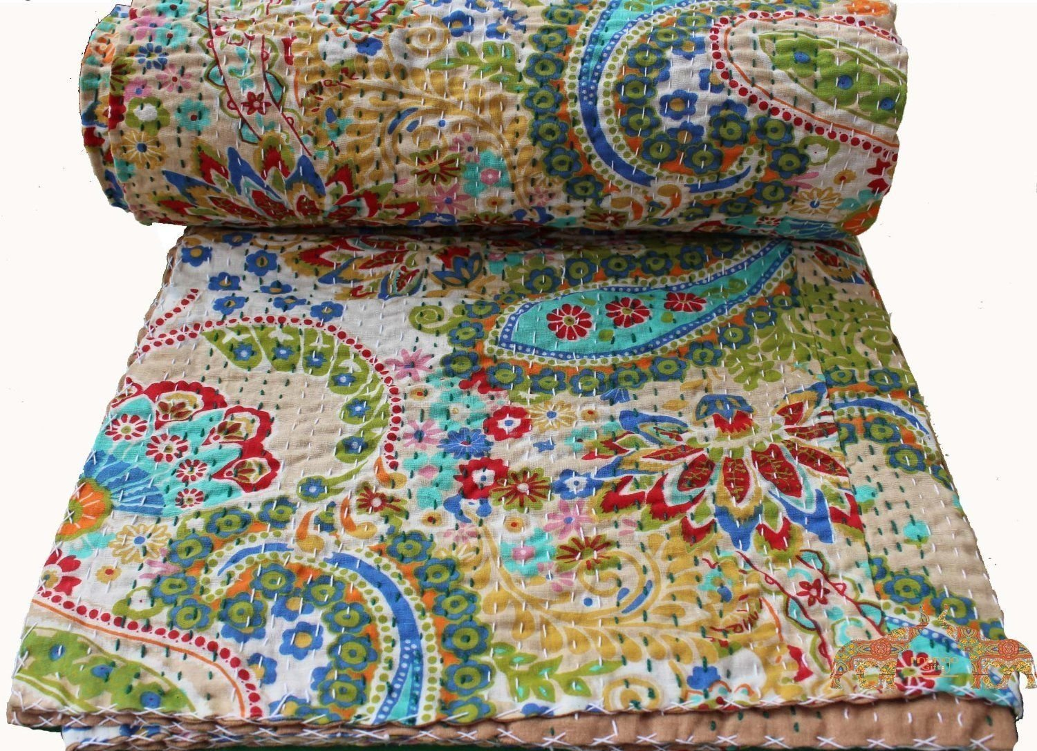 Mango Gifts Pure Cotton Kantha Style Quilt Bed Spread Indian Gudri Bed Cover Queen Size