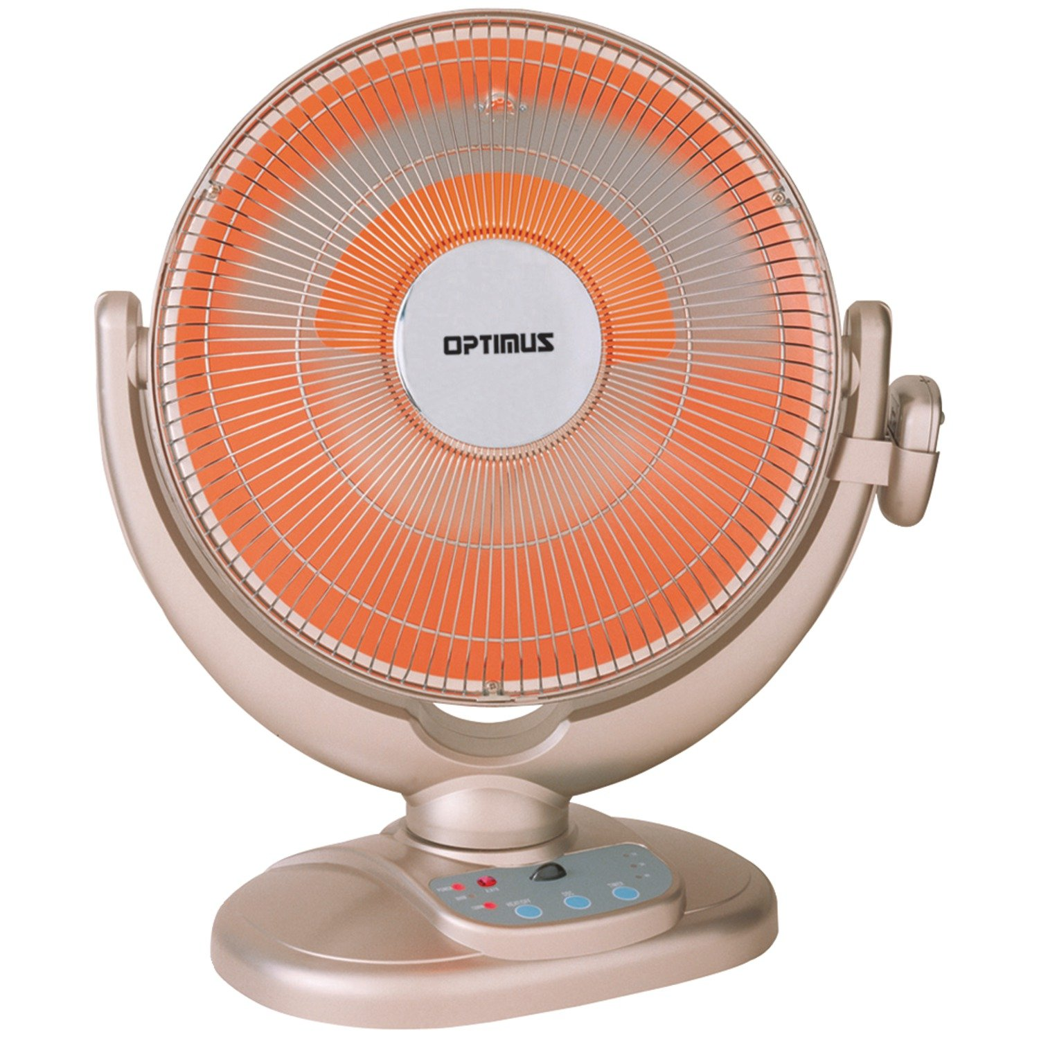 """Optimus 14"""" Oscillating Dish Heater with Remote Silver"""