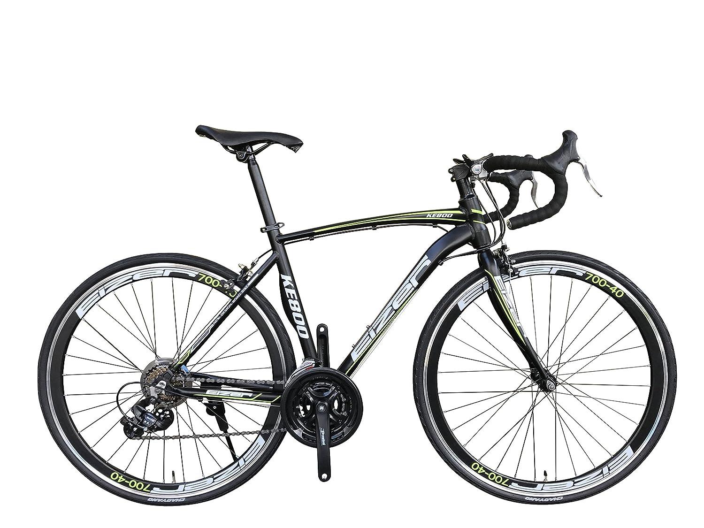 Eizer(アイゼル) 【ロードバイク】エアロデザイン軽量アルミ700Cフレームに定番シマノ21速 700Cエアロホイール装着40mmディープリム仕様でレーシーデザイン&カラーリング 好みに合わせて全4色のカラーバリエーション KE800ブラック/グリーン KE800 ブラック/グリーン 700C B075FT9RCN